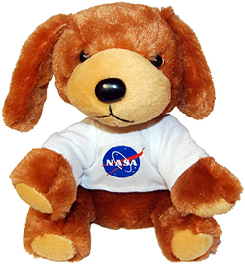 Stuffed Plush Puppy with NASA Meatball Logo T-Shirt - Brown