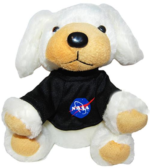 Stuffed Plush Puppy with NASA Meatball Logo T-Shirt - White