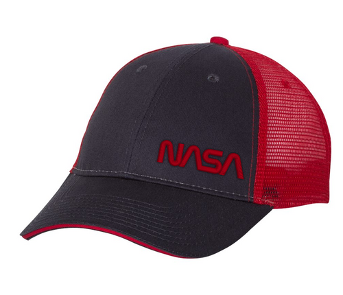 NASA Worm Logo - Red And Black Trucker Hat
