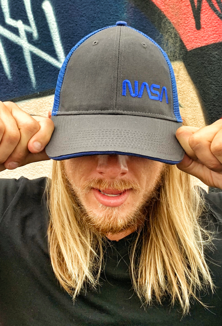NASA Worm Logo - Black And Blue Trucker Hat