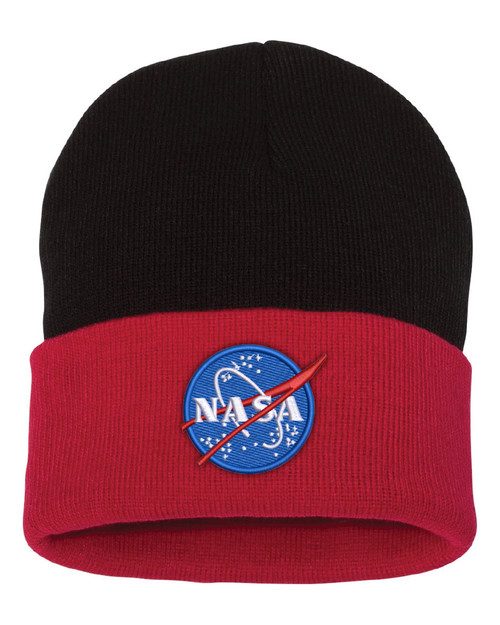 NASA Meatball Logo - Black And Red Beanie