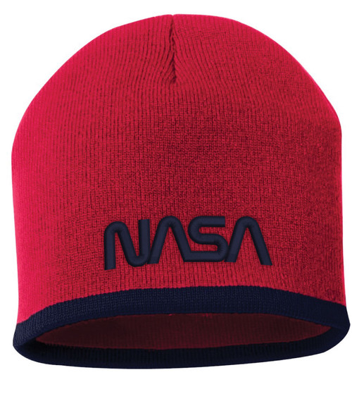 NASA Worm Logo - Red And Navy Beanie