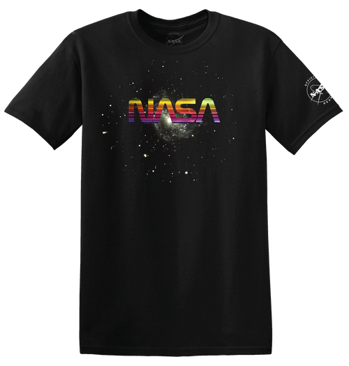 NASA Worm Logo - Horizontal Rainbow Foil Adult T-Shirt