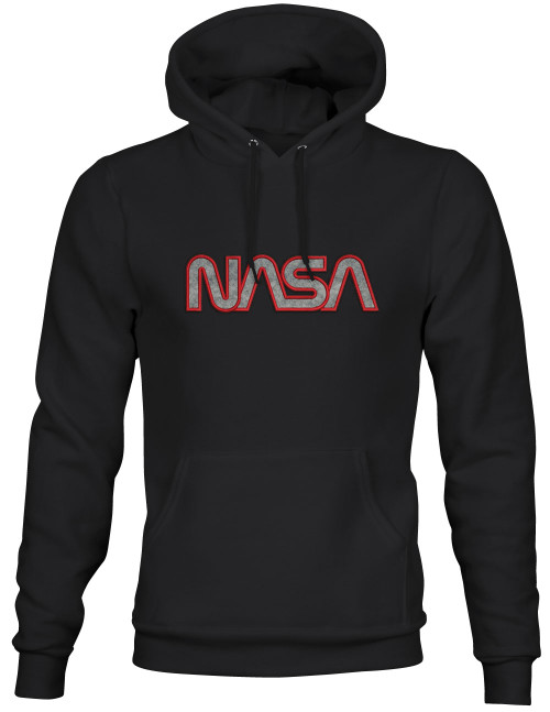 NASA Worm Logo - Red & Gray Applique Embroidered Adult Hoodie