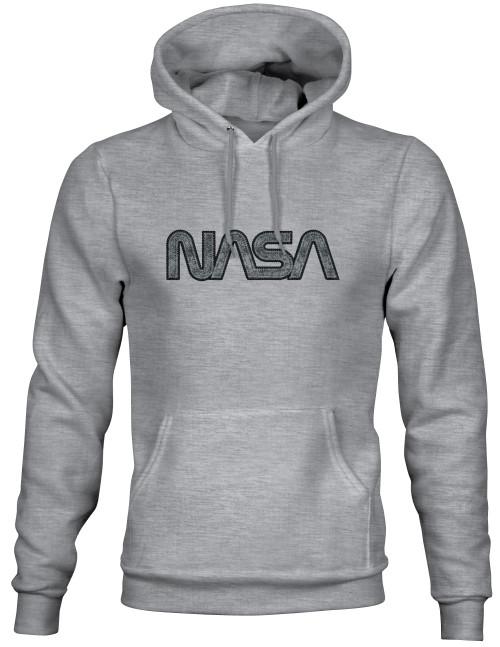 NASA Worm Logo - Black & Gray Applique Embroidered Adult Dark Grey Hoodie