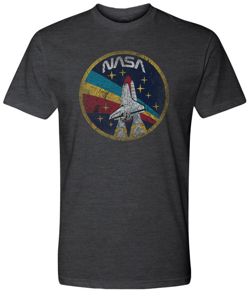 NASA Worm Logo - Black Vintage Shuttle Patch Adult T-Shirt *CLEARANCE*