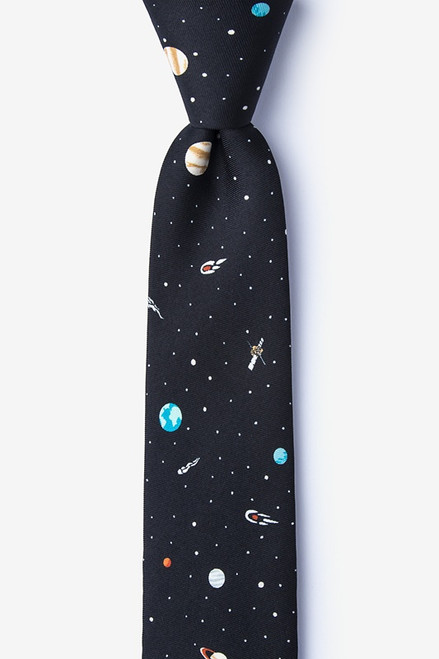 Wild Ties Skinny Outer Space Black Microfiber Tie