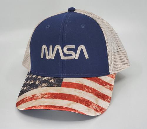 NASA Worm Logo - Embroidered Mesh Cap with US Flag Visor