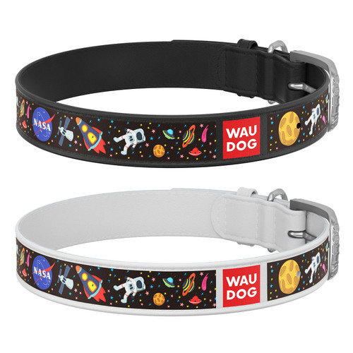 WAUDOG Leather Dog Collar w/NASA Design