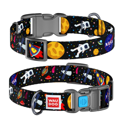 WAUDOG Nylon Pet Collar w/NASA Design, Plastic Fastex Buckle, and QR Pet Tag