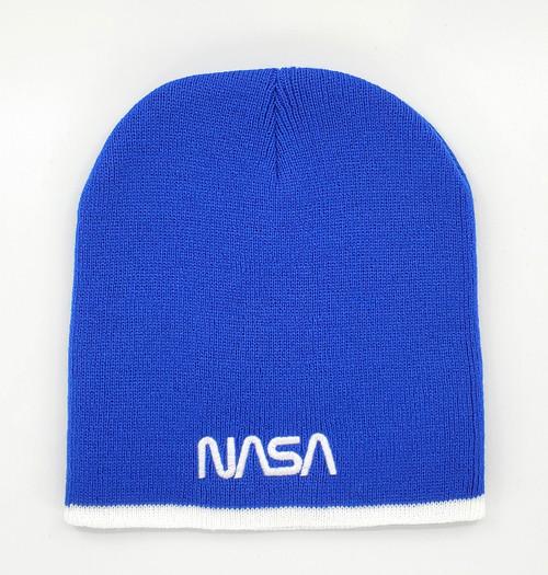NASA Worm Logo - Royal Blue & White Beanie