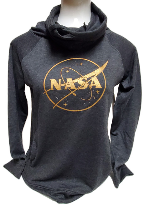 NASA Meatball Logo - Gold Outline - Faux Cashmere Funnel Neck Sweatshirt