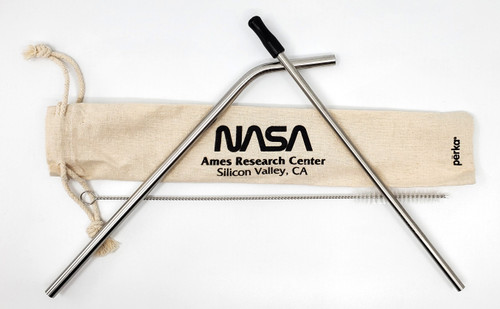 NASA Worm Logo - Metal Drinking Straw Set