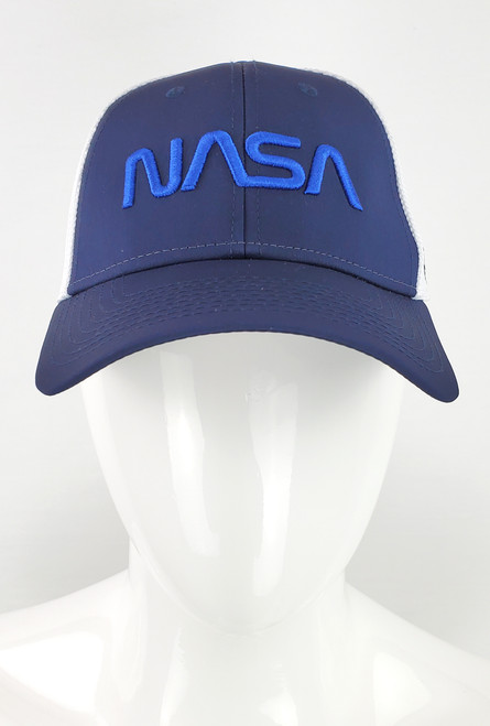 NASA Worm Logo - Navy and White Flex Fit Hat