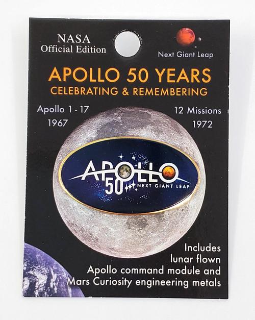 NASA Apollo 50th Logo Oval Pin
