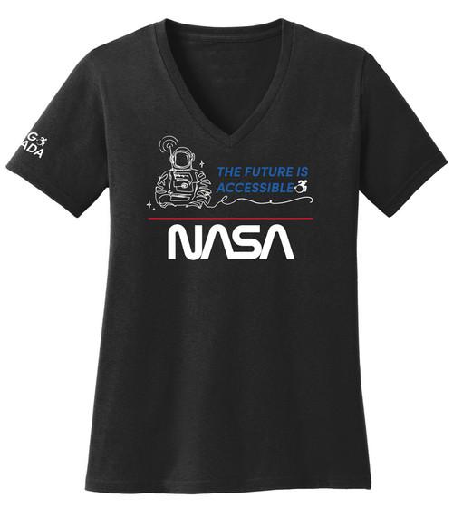 NASA Worm Logo - 2021 ADA Ladies V-Neck T-Shirt