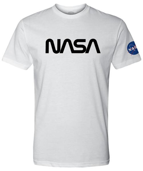 NASA Worm Logo - Black - Adult T-Shirt