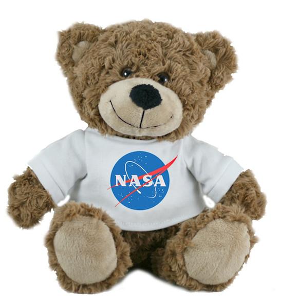 NASA Meatball Logo -Plush Stuffed Bear - Brown