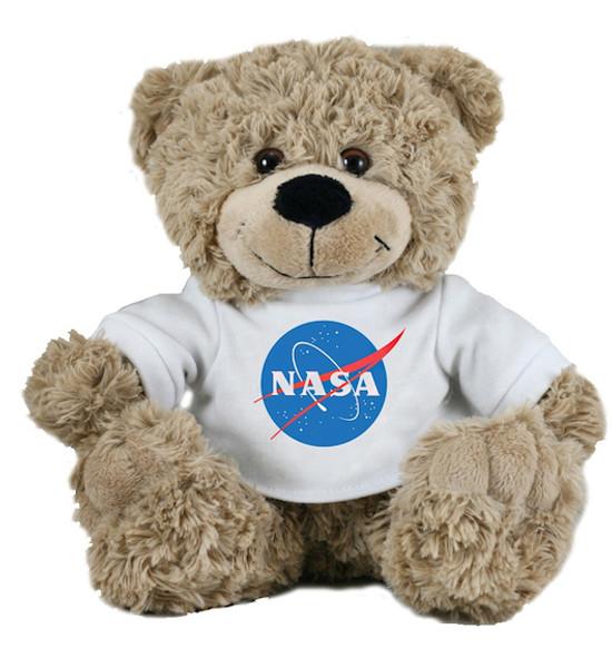 NASA Meatball Logo -Plush Stuffed Bear - White
