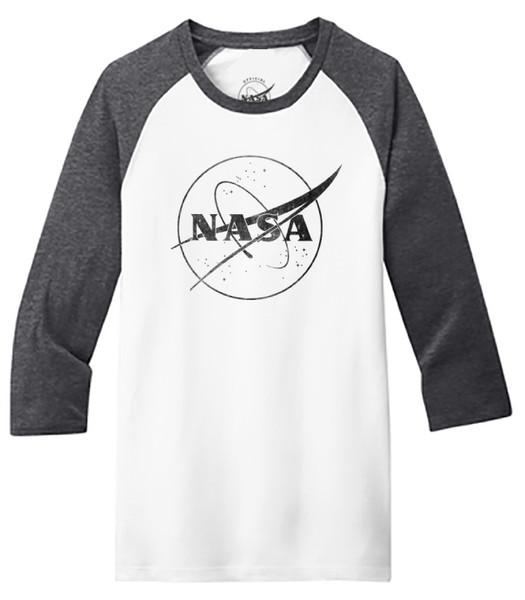 NASA Meatball Logo - Black Outline - Adult Baseball T-Shirt