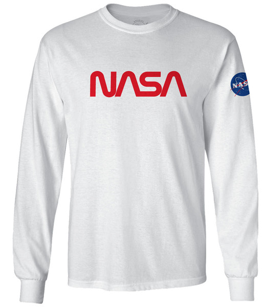 NASA Worm Logo - Red - Adult Long Sleeve T-Shirt
