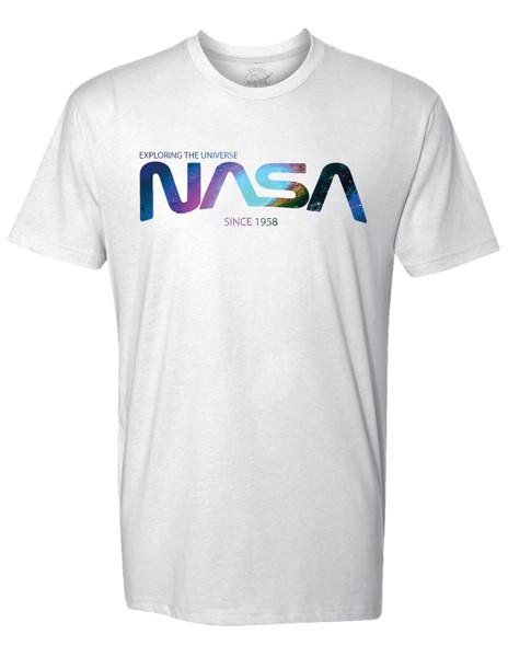 NASA Worm Logo - Nebula Design - Adult T-Shirt