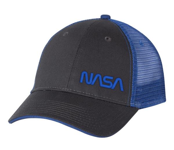 NASA Worm Logo - Black And Blue Trucker Hat