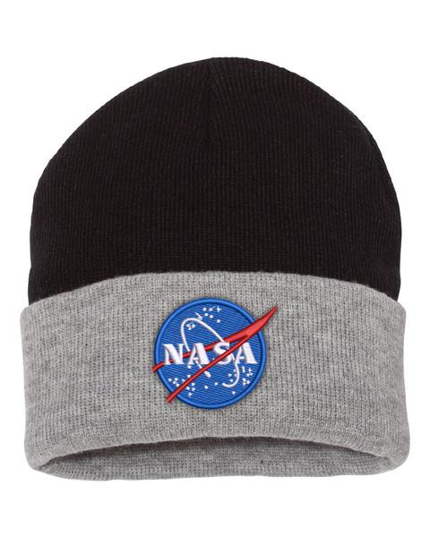 NASA Meatball Logo - Black And Grey Beanie