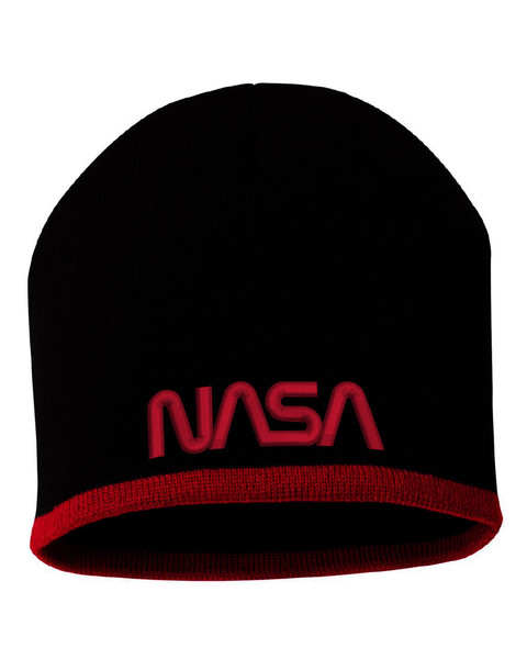 NASA Worm Logo -  Black And Red Beanie