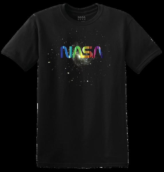 NASA Worm Logo - Vertical Rainbow Foil Adult T-Shirt