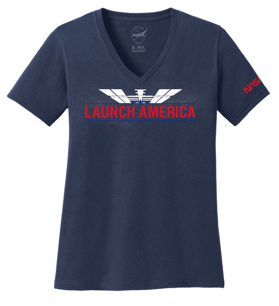 Launch America - Ladies V-Neck T-Shirt