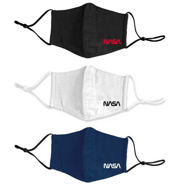 NASA Worm Logo - 4 Layer Cotton Face Mask With Adjustable Ear Loops