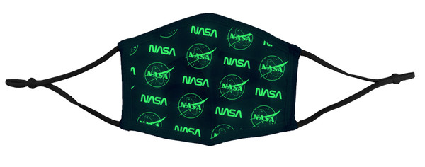 NASA Dueling Glow In The Dark Logos - 4 Layer Cotton Face Mask With Adjustable Ear Loops