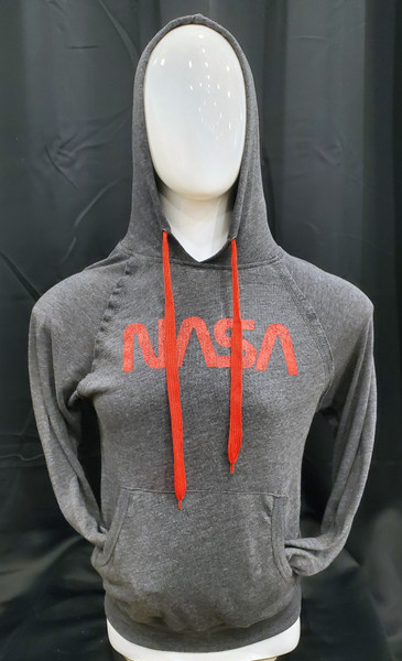 NASA Worm Logo - Lightweight Hoodie with Red Drawstrings (Charcoal)