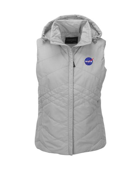 NASA Meatball Logo - Women's Jupiter Hooded Puffer Vest