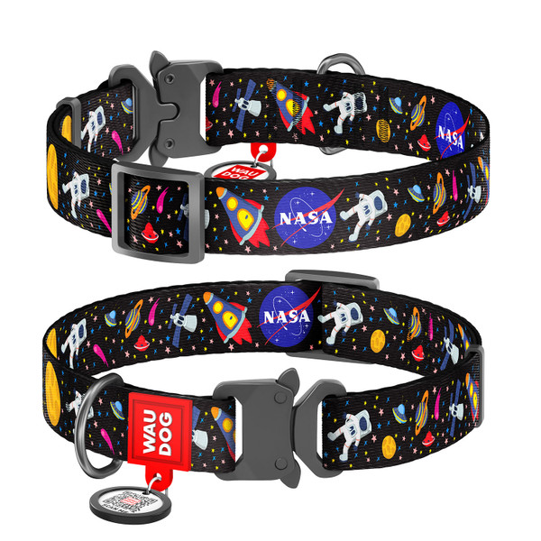 WAUDOG Nylon Pet Collar w/NASA Design, Metal Fastex Buckle, and QR Pet Tag