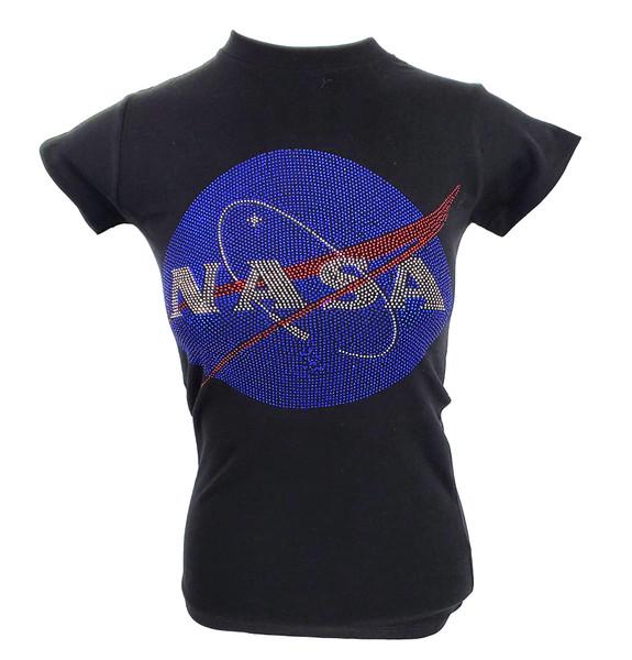 NASA Meatball Logo - Rhinestone Ladies Tee