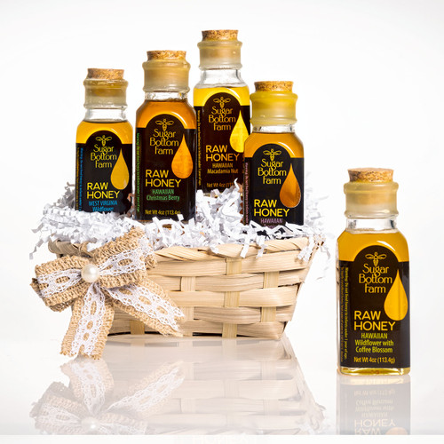 Raw Honey Sampler Gift Basket 5 (4oz) from Sugar Bottom Farm