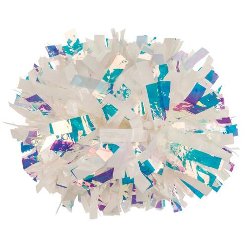 White Plastic with Lazer Flash Pom