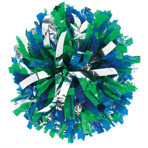2 Color Plastic with Metallic Flash Poms - Youth