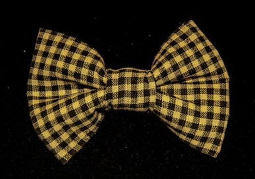 Black and Beige Gingham Pet Bow Tie
