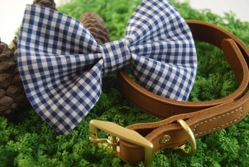 Dark Blue Gingham Pet Bow Tie