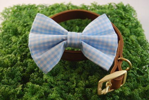 Light Blue Gingham Pet Bow Tie