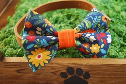 Fiesta Flower Blue Pet Bow Tie