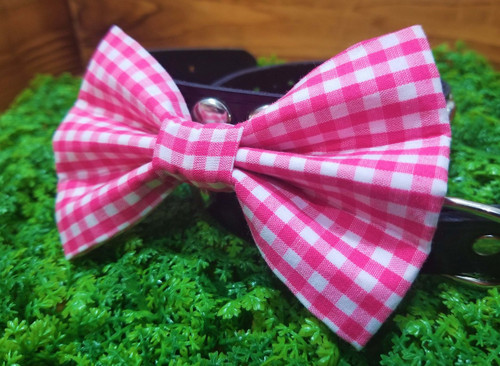 Pink Gingham Pet Bow Tie