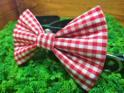 Red Gingham Pet Bow Tie