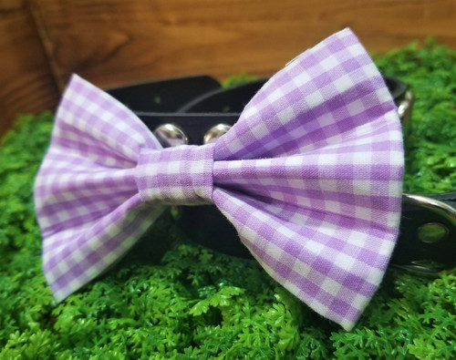 Purple Gingham Pet Bow Tie
