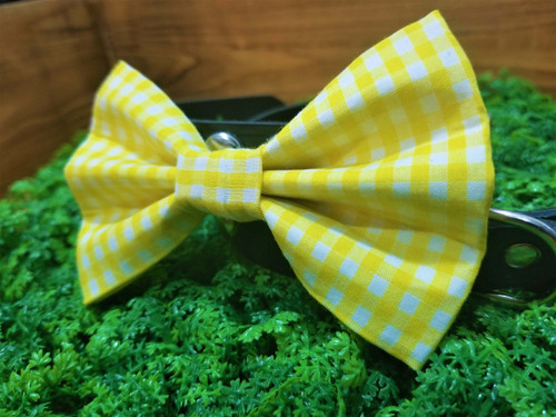 Yellow Gingham Pet Bow Tie