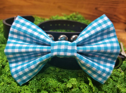 Blue Gingham Pet Bow Tie