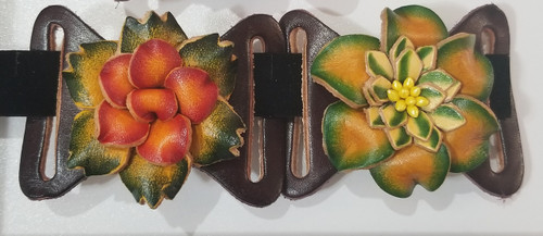 From left to right: Red with green, Orange with green